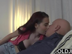 Sugar Daddy Fucks Step-Daughter Tight Pussy Goes Deep inside
